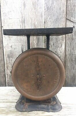 Antique Primitive Kitchen Scale 1800's Farmhouse Brass Face WORKS!