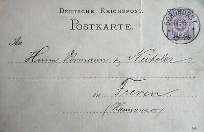 GERMANY REICH POST CARD 1886 See Scan