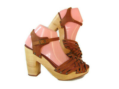 58d5600db Hinge Womens Parker Block Heel Woven Heeled Sandals 9 Wood Sole Platform  Strappy