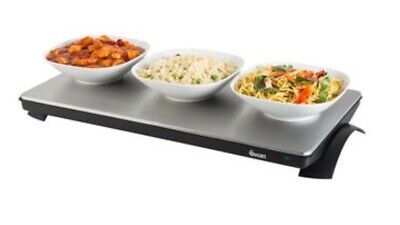 "Silver Tabletop Hot Plate - Cooking 24"" x 12"" Electric Extra Large Warming Tray"