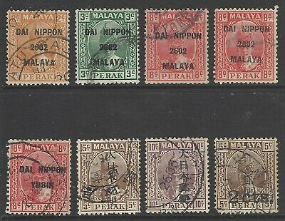 MALAYA PERAK (JAPANESE OCCUPATION) 1942/1943 collection early used opt stamps