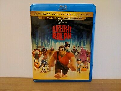Wreck-It Ralph Blu-Ray DVD Blu-Ray 3D Ultimate Collector Edition No Digital Code