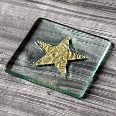 4 X Jo Downs - Classic Fused Glass Star Coaster Gold - New In Jo Downs Gift Box