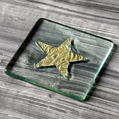 2 X Jo Downs - Classic Fused Glass Star Coaster Gold - New In Jo Downs Gift Box