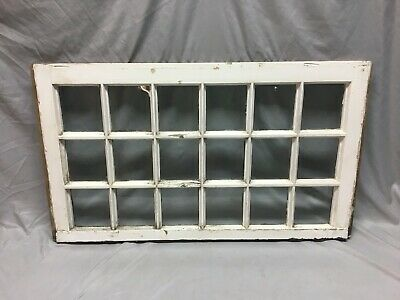 Antique 18 Lite Window Sash Shabby Vtg Chic Picture Frame 20X34 Wedding 105-19J