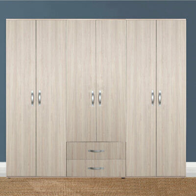 Light Oak Extra Large 6 Door 2 Drawer Combination Bedroom Wardrobe 7 Yr Warranty