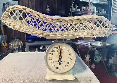 Vintage 1930's New Born Baby Nursery Scale Yellow w Baby Face & Yellow Wicker
