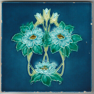 Tile Molded Art Nouveau Design Manufactured By T A Simpson C1900-1910 6In Square