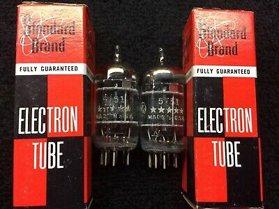 2 NOS Matched GE 5751 Triple Mica Black Plate Tubes USA 1959