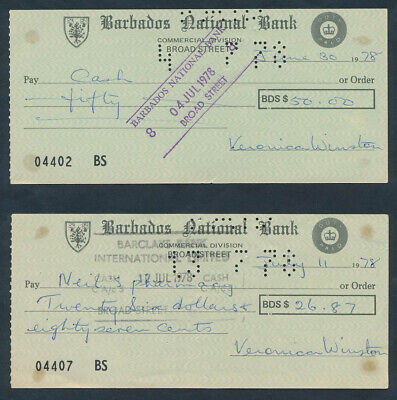 """Barbados: 1978 Barbados National Bank """"LOT OF 2 CHEQUES"""" + Printed Duty Stamps"""