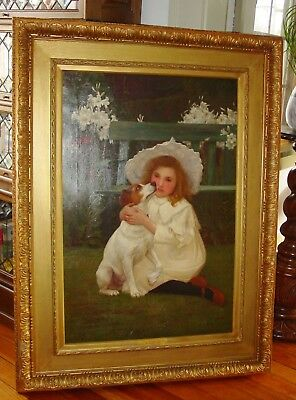 """Antique charming William Gore """"An Interesting Patient"""" oil on canvas---15520"""