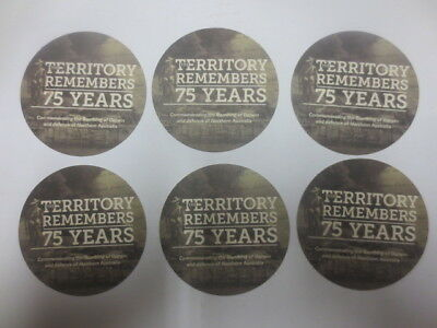 6 x 75 Years  BOMBING OF DARWIN Remembers  Issue collectable COASTERS