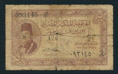 "Egypt: 1940 5 Piastres Sig Badr ""KING FAROUK"". Pick 165a VG Cat $67"