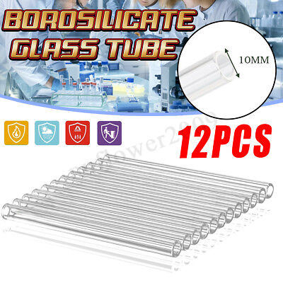 12Pcs 125mm OD 10mm 2.2mm Thick Clear Borosilicate Glass Blowing Tube Wall