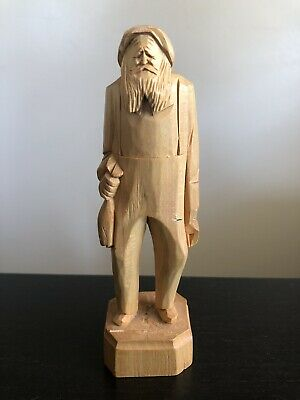 Wood Sculpture Old Man Grandpa by French Canadian Quebec Artist Andre Bourgault