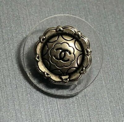 1 Chanel CC Coco Logo Designer Button 17.6 mm Silver Clear Lucite 2/3""