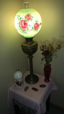 Antique Hand Painted Globe Victorian Gone With The Wind Hurricane Lamp.