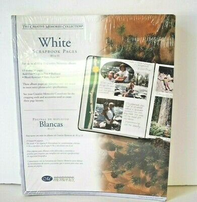 Creative Memories White Scrapbook Pages 8.5 x 11 Retired 2002 15 Sheets NIP