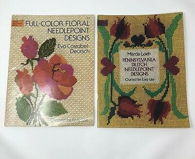 Dover Pennsylvania Dutch Needlepoint Designs Charted Pattern Floral Lot Of 2