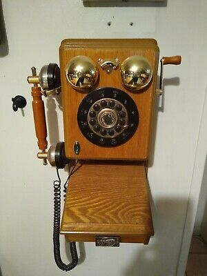 Vintage wooden old country replica Wall Phone