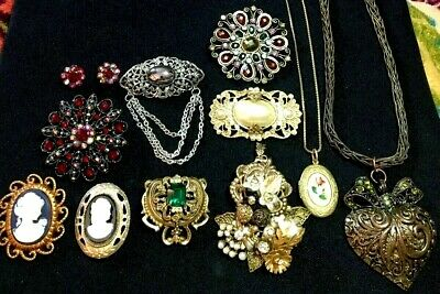 Vintage Jewelry Lot Cameo Locket Brooch Rhinestone Etruscan Necklace Brass