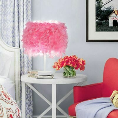 UK Feather Lampshade Table Lamp Vintage LED Night Light Desk Bedroom Decor Pink