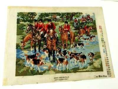 Vintage Art Stitching Embroidery Needlework Country Hunter Horses Hound Dogs