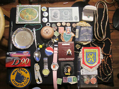 Junk Drawer Lot estate sale old coins watches lot old marbles jewelry stamps old
