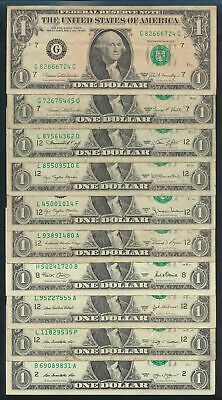 "USA: 1969C-2013 $1 George Washington ""SET 10 DIFFERENT DATES"" incl 2 Lucky Nos"