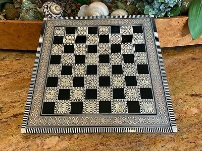 "Large Chess Board Beech Wood Inlaid Mother of Pearl (16"") - Made in Egypt"
