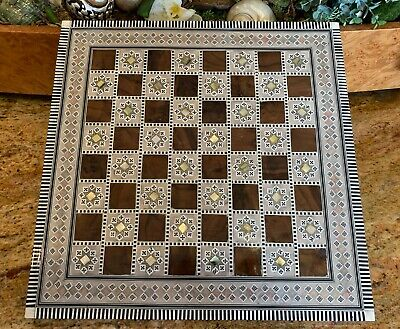 "Stunning Egyptian Chess Board Beech Wood Inlaid Mother of Pearl Handmade (16"")"