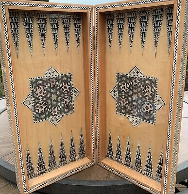 "Stunning Egyptian Backgammon/Chess Beech Wood Inlaid Mother of Pearl (20.5"")"