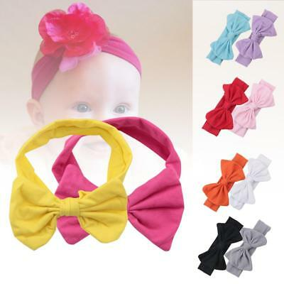Girls Kids Baby Cotton Bow Hairband Headband Stretch Turban Knot Head Wraps WT