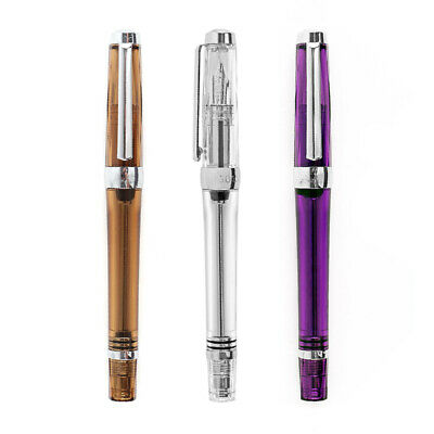 Wing Sung 3013 Vacuum Fountain Pen Resin Transparent Quality EF/F Nib Writing