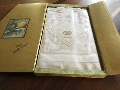 Antique Irish Linen Tablecloth Serviettes 6 Boxed Ivory.