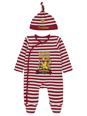 Baby Harry Potter Gryffindor Sleepsuit & Hat Halloween Outfit 100% Cotton 6-18m
