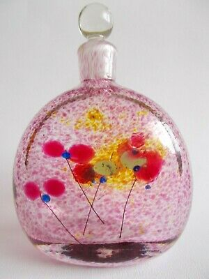Signed George Elliott Bewdley Early British Studio Glass Floral Perfume Bottle
