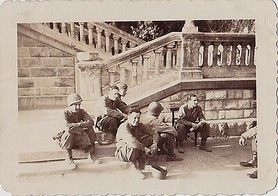 Vintage Antique Photograph Bunch of Military Men in Uniform Sitting on Ground