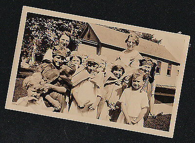 Vintage Antique Photograph Group of Children Wearing Cool Costumes - Halloween?