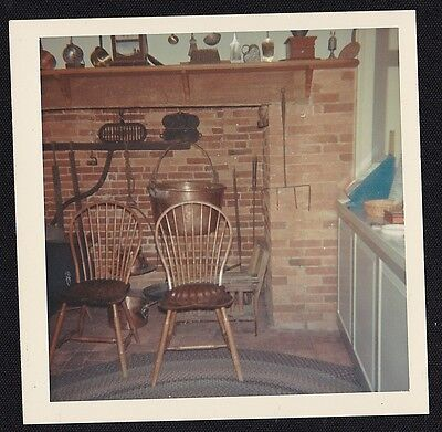 Old Vintage Photograph Beautiful Brick Fireplace Copper Kettle in Retro Kitchen