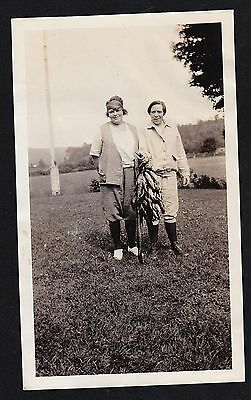 Vintage Antique Photograph Two Women in Field with Large Catch of Fish