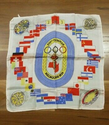 Melbourne Olympics 1956 Pure Silk Scarf-Venues-Medallion-Stadium-Flags-Track
