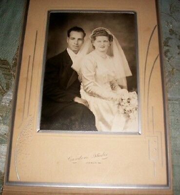 Old Vintage Cabinet Card Photograph Wedding Bride and Groom