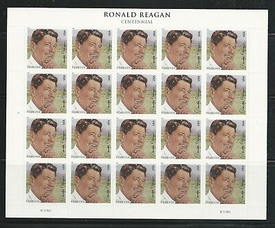 2011 #4494 Ronald Reagan Forever Stamps Pane of 20 Mint