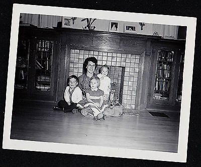Antique Vintage Photograph Mom With Children Sitting By Beautiful Fireplace