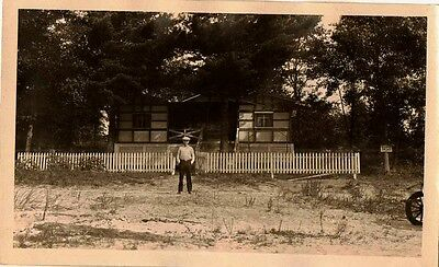 Vintage Antique Photograph Man Standing By Fence of Wonderful Old Country Home
