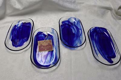 Artistic Accents Pearl Blue Opal Iridescent Swirl Glass Oval Serving Plates S/4