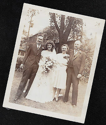 Old Vintage Antique Photograph Wedding Bride & Groom Standing With Parents