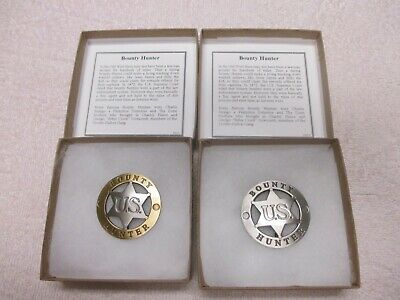 Famous Badges of Old West -2 Great Bounty Hunter Badges! 1 Gold, 1 Silver