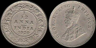 India: 1929 1/12 Anna King George V silver, appears to be cupro-nickel . Rare???